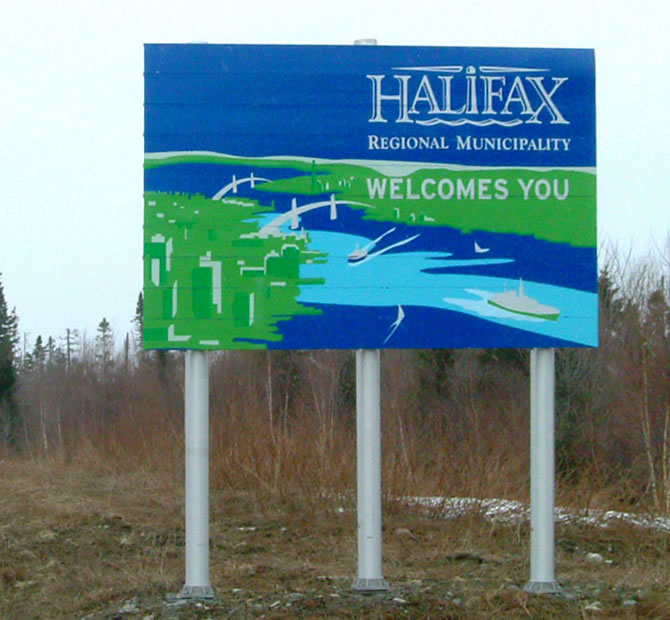 HRM Welcome sign on highway