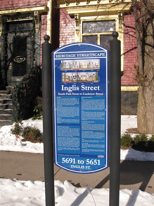 Heritage streetscape sign for Inglis St.