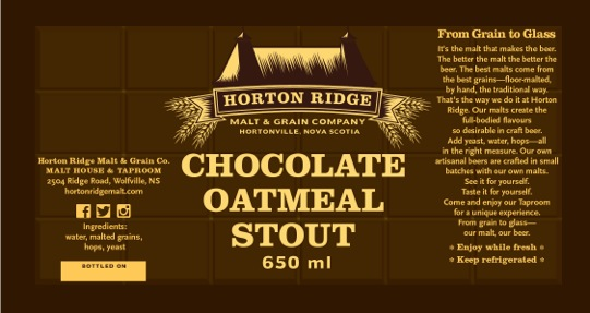 Label for Horton Ridge Chocolate Oatmeal Stout