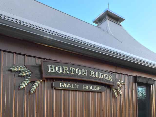 Carved sign for Horton Ridge Malt and Grain Co