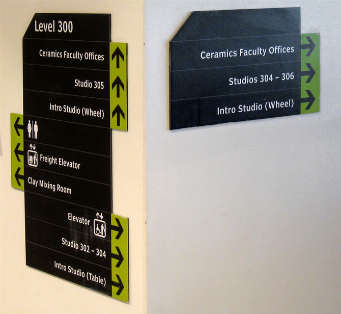 Wayfinding signage on level 300