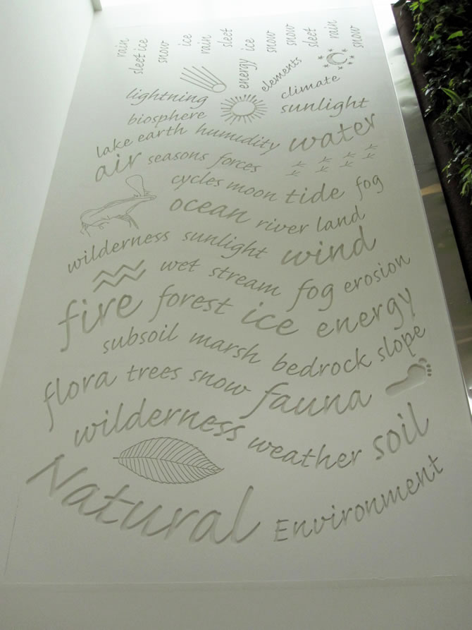 Word Wall showing natural elements