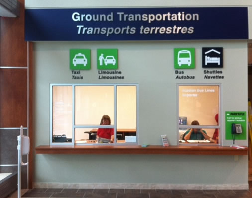 Ground transportation booth signage