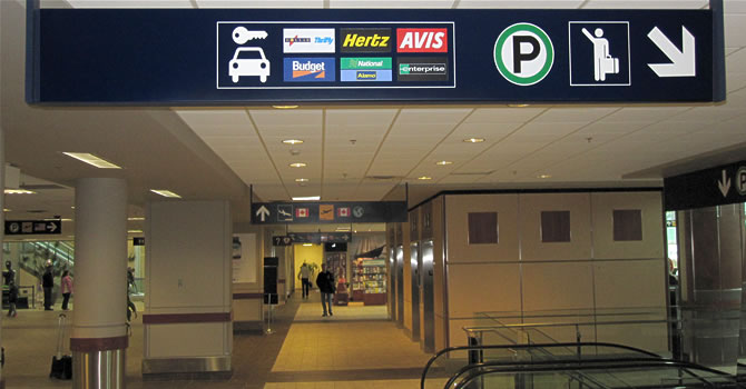 Signage within the terminal