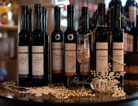 Icewine bottles with labels