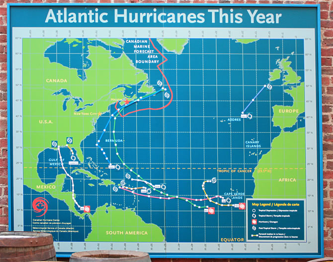 Magnetic map showing path of hurricanes