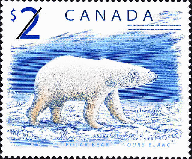 2 dollar Canadian stamp with polar bear