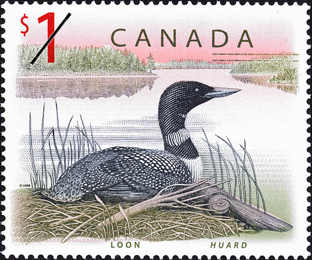 1 dollar Canadian stamp with loon